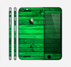 The Bright Green Highlighted Wood Skin for the Apple iPhone 6 Plus