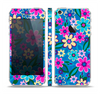 The Bright Pink & Blue Vector Floral Skin Set for the Apple iPhone 5