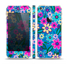 The Bright Pink & Blue Vector Floral Skin Set for the Apple iPhone 5s
