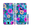 The Bright Pink & Blue Vector Floral Sectioned Skin Series for the Apple iPhone 6