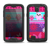 The Bright Pink Cartoon Owls with Flowers and Butterflies Samsung Galaxy S4 LifeProof Fre Case Skin Set