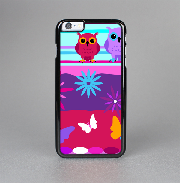 The Bright Pink Cartoon Owls with Flowers and Butterflies Skin-Sert Case for the Apple iPhone 6 Plus
