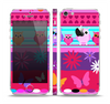 The Bright Pink Cartoon Owls with Flowers and Butterflies Skin Set for the Apple iPhone 5