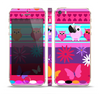 The Bright Pink Cartoon Owls with Flowers and Butterflies Skin Set for the Apple iPhone 5s