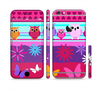 The Bright Pink Cartoon Owls with Flowers and Butterflies Sectioned Skin Series for the Apple iPhone 6