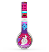 The Bright Pink Cartoon Owls with Flowers and Butterflies Skin for the Beats by Dre Solo 2 Headphones