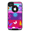 The Bright Pink Cartoon Owls with Flowers and Butterflies Skin for the iPhone 4-4s OtterBox Commuter Case