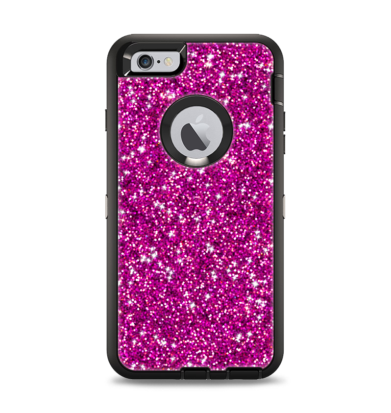 online retailer c4d4a 61834 The Bright Pink Glitter Apple iPhone 6 Plus Otterbox Defender Case Skin Set