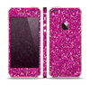 The Bright Pink Glitter Skin Set for the Apple iPhone 5s