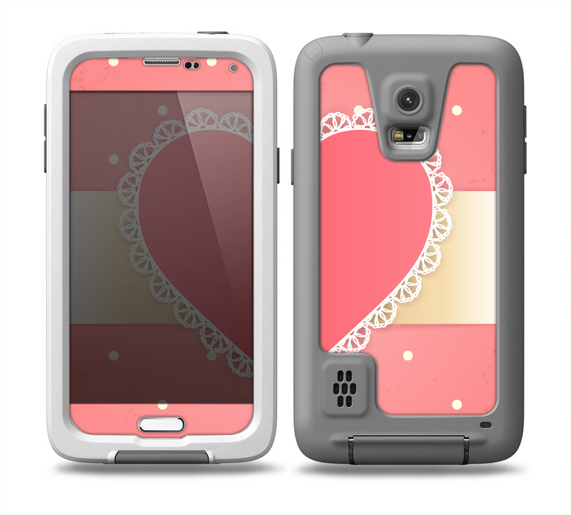 The Bright Pink Heart Lace V3 Skin for the Samsung Galaxy S5 frē LifeProof Case