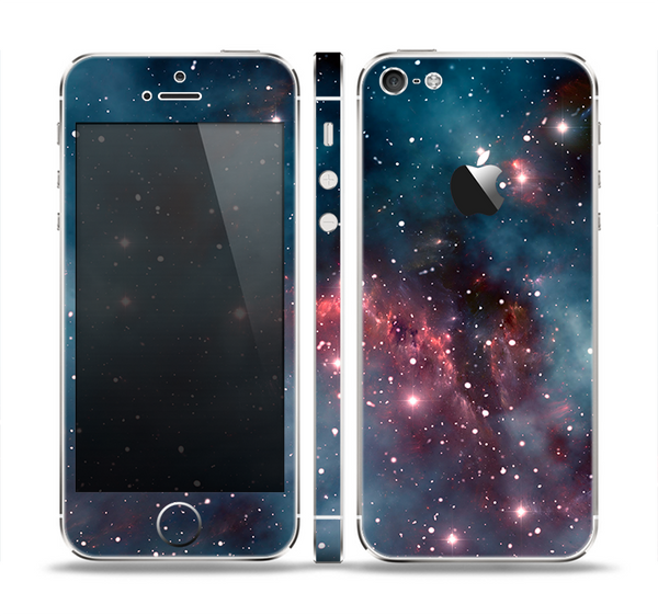 The Bright Pink Nebula Space Skin Set for the Apple iPhone 5