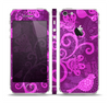 The Bright Pink & Purple Floral Paisley Skin Set for the Apple iPhone 5