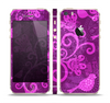 The Bright Pink & Purple Floral Paisley Skin Set for the Apple iPhone 5s
