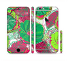The Bright Pink and Green Flowers Sectioned Skin Series for the Apple iPhone 6