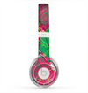 The Bright Pink and Green Flowers Skin for the Beats by Dre Solo 2 Headphones