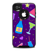 The Bright Purple Party Drinks Skin for the iPhone 4-4s OtterBox Commuter Case