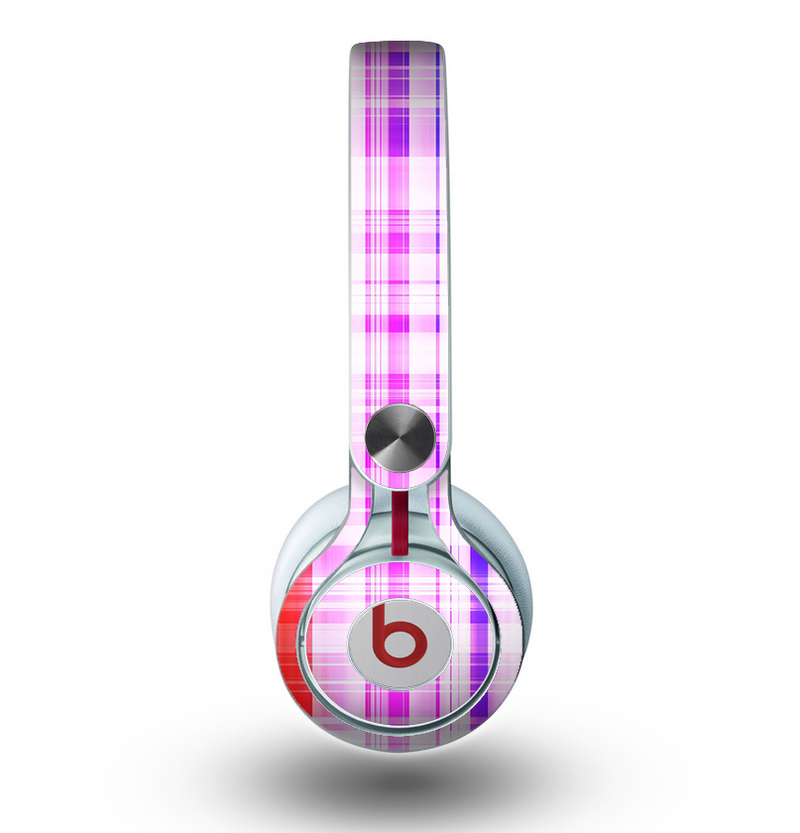 The Bright Rainbow Plaid Pattern Skin for the Beats by Dre Mixr Headphones