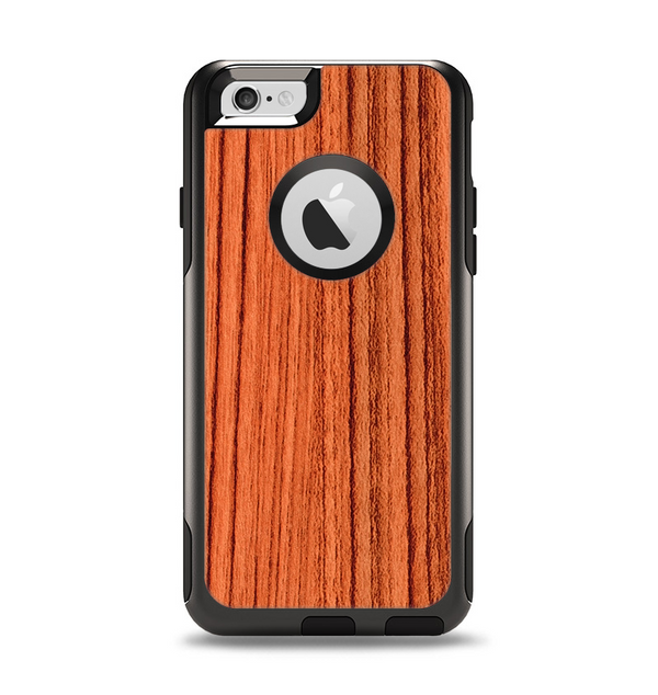 The Bright Red & Black Grained Wood Apple iPhone 6 Otterbox Commuter Case Skin Set