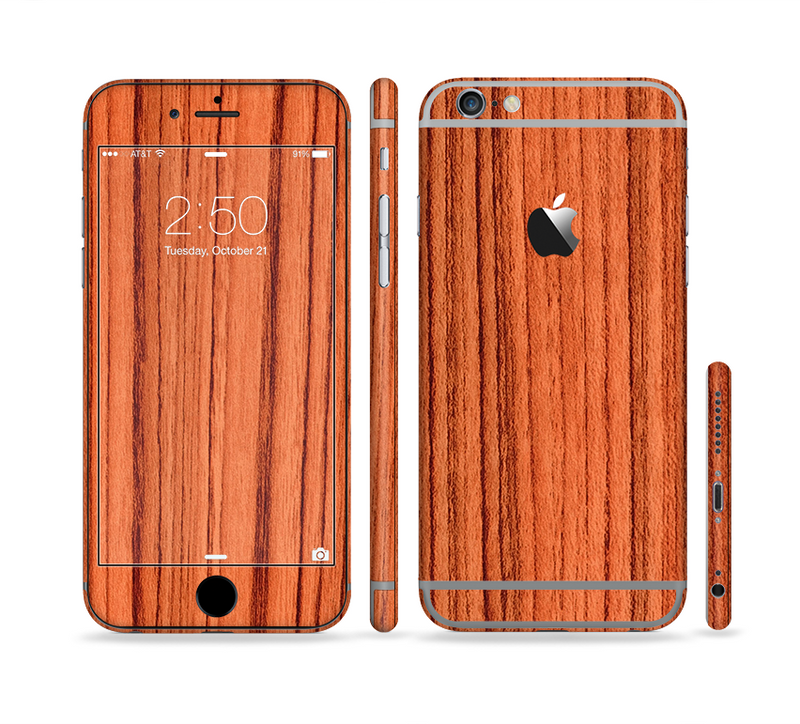 The Bright Red & Black Grained Wood Sectioned Skin Series for the Apple iPhone 6s