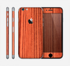 The Bright Red & Black Grained Wood Skin for the Apple iPhone 6
