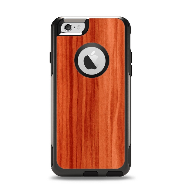 The Bright Red Stained Wood Apple iPhone 6 Otterbox Commuter Case Skin Set