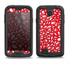 The Bright Red and White Floral Sprout Samsung Galaxy S4 LifeProof Fre Case Skin Set