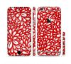 The Bright Red and White Floral Sprout Sectioned Skin Series for the Apple iPhone 6
