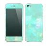 The Bright Teal WaterColor Panel Skin for the Apple iPhone 5s
