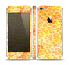 The Bright Yellow and Orange Leopard Print Skin Set for the Apple iPhone 5