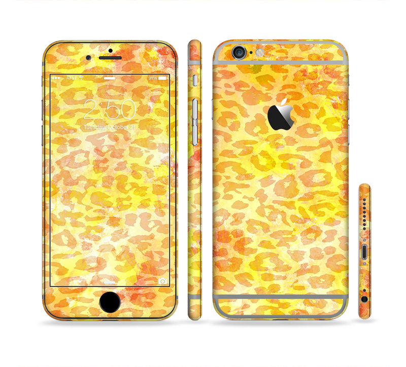 The Bright Yellow and Orange Leopard Print Sectioned Skin Series for the Apple iPhone 6s