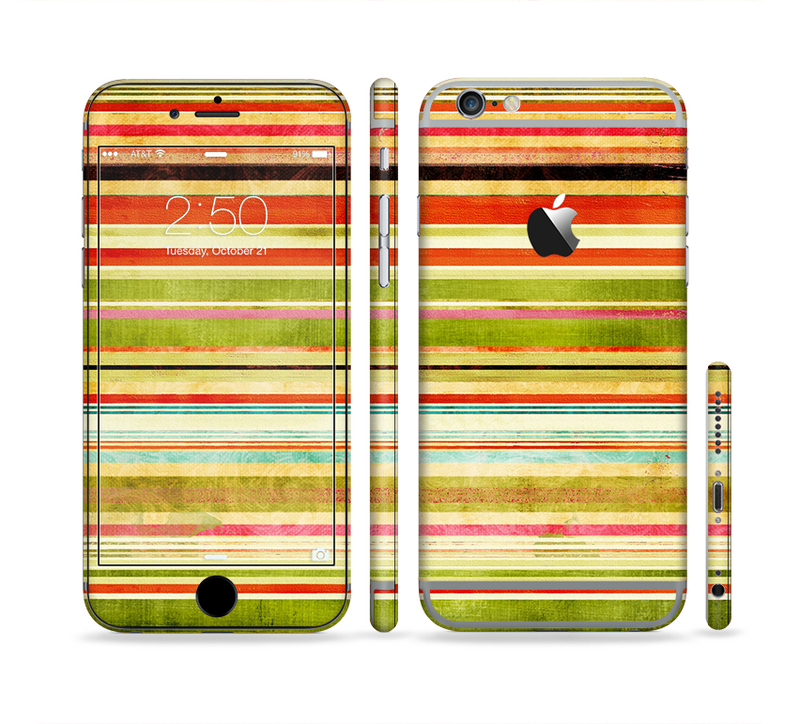 The Brightly Colored Vertical Grungy Stripes Sectioned Skin Series for the Apple iPhone 6s