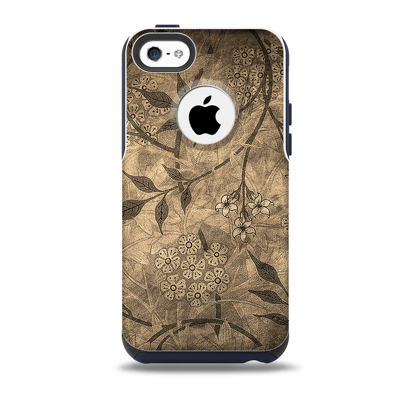 The Brown Aged Floral PatternSkin for the iPhone 5c OtterBox Commuter Case