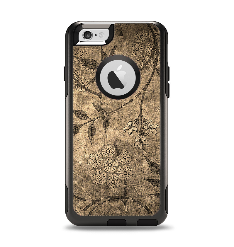 The Brown Aged Floral Pattern Apple iPhone 6 Otterbox Commuter Case Skin Set