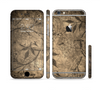 The Brown Aged Floral Pattern Sectioned Skin Series for the Apple iPhone 6