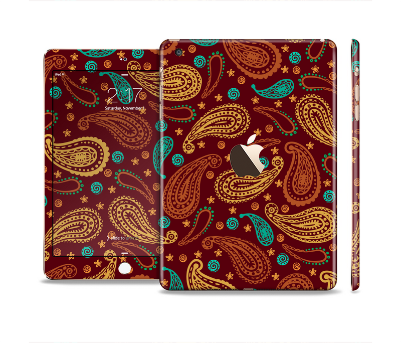 The Brown & Gold Paisley Pattern Full Body Skin Set for the Apple iPad Mini 3