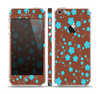 The Brown and Blue Floral Layout Skin Set for the Apple iPhone 5