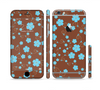 The Brown and Blue Floral Layout Sectioned Skin Series for the Apple iPhone 6 Plus