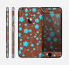The Brown and Blue Floral Layout Skin for the Apple iPhone 6