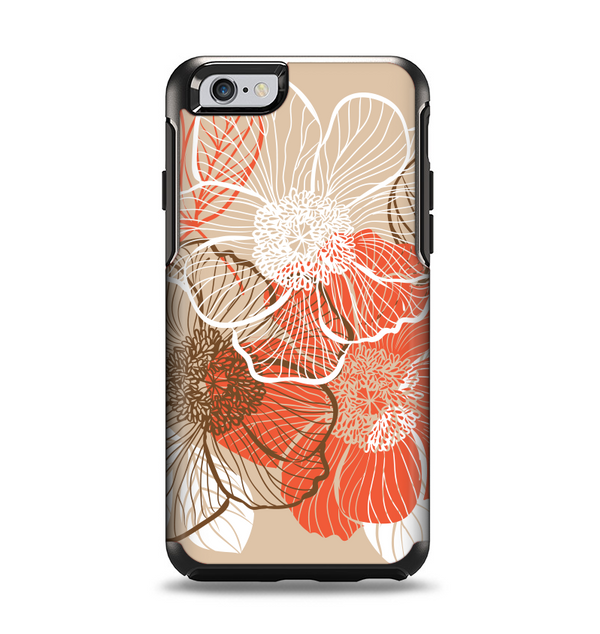 The Brown and Orange Transparent Flowers Apple iPhone 6 Otterbox Symmetry Case Skin Set