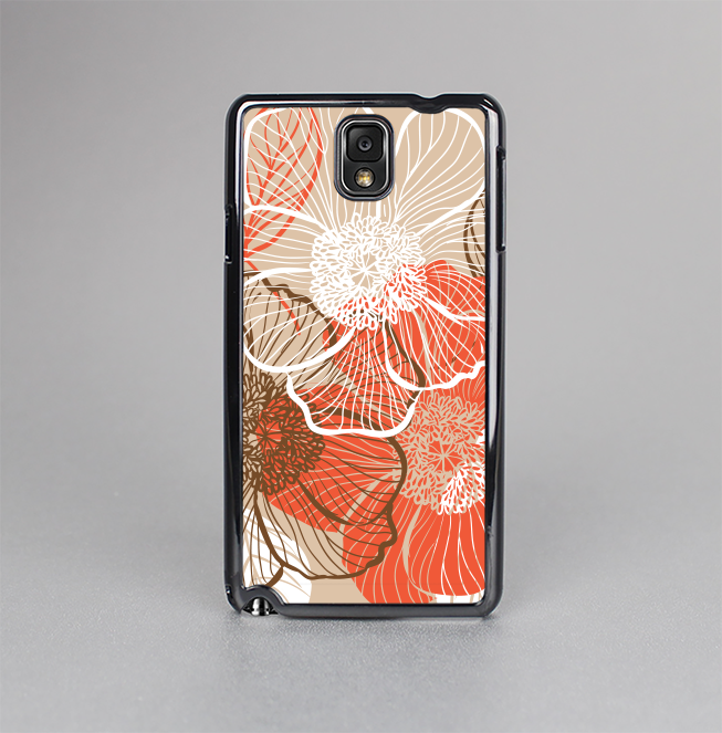 The Brown and Orange Transparent Flowers Skin-Sert Case for the Samsung Galaxy Note 3