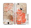 The Brown and Orange Transparent Flowers Sectioned Skin Series for the Apple iPhone 6 Plus