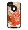 The Brown and Orange Transparent Flowers Skin for the iPhone 4-4s OtterBox Commuter Case