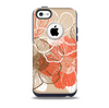The Brown and Orange Transparent Flowers Skin for the iPhone 5c OtterBox Commuter Case