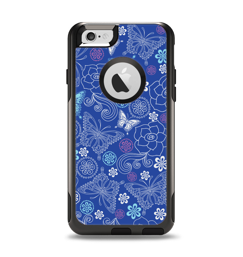 The Butterfly Blue Laced Apple iPhone 6 Otterbox Commuter Case Skin Set