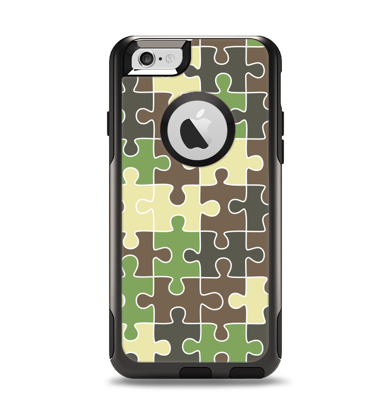 The Camouflage Colored Puzzle Pattern Apple iPhone 6 Otterbox Commuter Case Skin Set