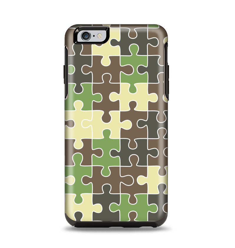 The Camouflage Colored Puzzle Pattern Apple iPhone 6 Plus Otterbox Symmetry Case Skin Set