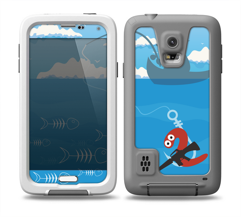 The Cartoon Worm with Machine Gun Irony Skin for the Samsung Galaxy S5 frē LifeProof Case