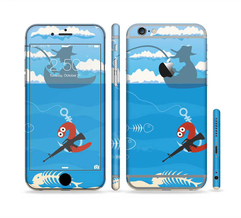 The Cartoon Worm with Machine Gun Irony Sectioned Skin Series for the Apple iPhone 6s