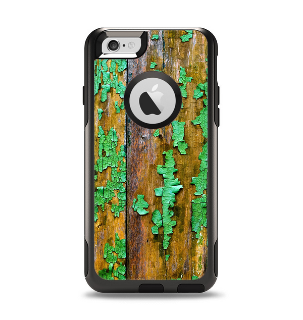 The Chipped Bright Green Wood Apple iPhone 6 Otterbox Commuter Case Skin Set