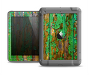 The Chipped Bright Green Wood Apple iPad Air LifeProof Fre Case Skin Set